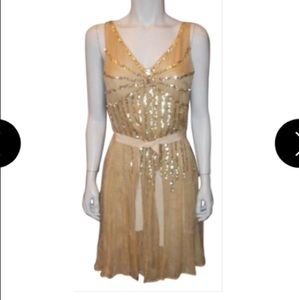 Moschino Nude/Gold Silk Chiffon Sequin dress